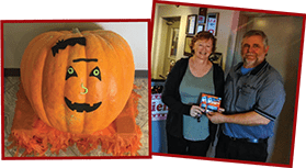 Winner of Guess the Weight of our Giant Pumpkin contest