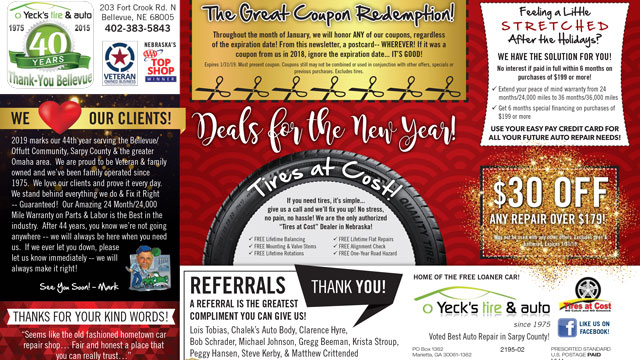Newsletter January 2019 Thumbnail | Yeck's Tire & Auto